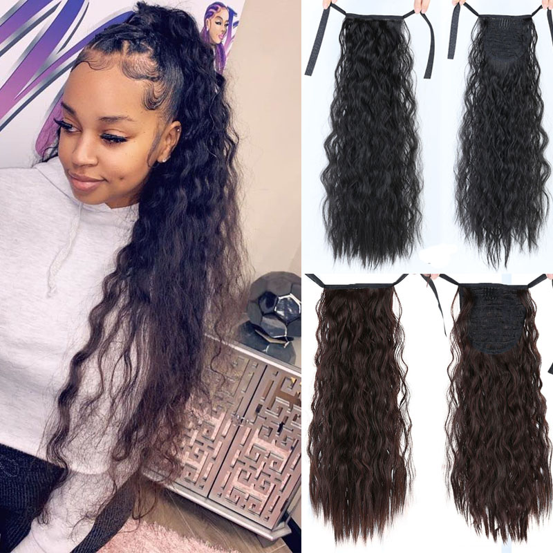 Corn Wavy Long Ponytail Synthetic Hairpiece Wrap On Clip  Extensions Ombre Brown Pony Tail Blonde Fack Hair