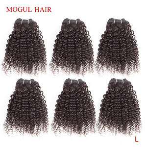 MOGUL HAIR 4/6 Bundles 50g/pc Brazilian Kinky Curly Natural Color Can be Dyed Remy Human Hair 10 12 inch Short Bob Style(China)