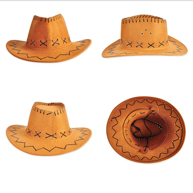 Hot Sell Children's Red Felt Cowboy Hat Adult Cosplay Outdoors Sun Hat