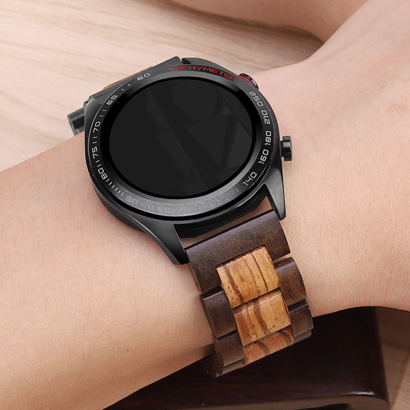 20 22mm Wooden Watch Band For Huawei Watch GT/Galaxy Watch 46/42mm Replacement Strap Stainless Steel Buckle Bracelet Accessories