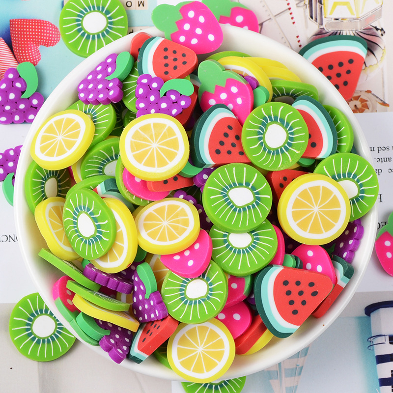 10pcs/lot Large Fruit Slices Plasticine Slime Kit Supplies Polymer Clay DIY Creative Glue Mud Hair Accessories Crafts Materials