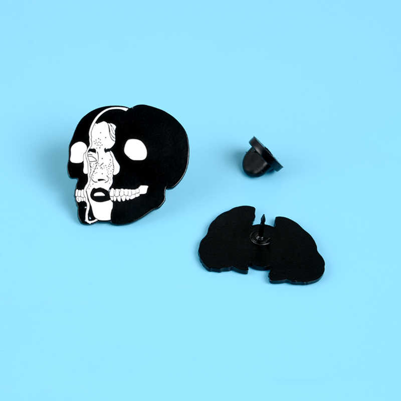 פאנק נשים פנים סיכות שחור Evil גולגולת מסכת אמייל פין סיכת כהה צד בגדי תיק דש פין תג גותי תכשיטים מתנה סיטונאי