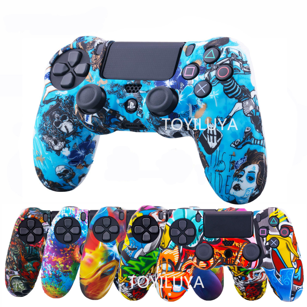 PS 4 Silicone Case Camo Cover Protective Skin For Sony Playstation 4 Dualshock 4 DS4 PS4 Pro Slim Controller Accessories