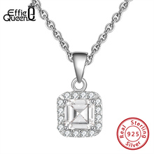 Effie Queen 925 Sterling Silver Pendant Necklaces with Big Square Crystal Stone  AAAA Zircon Chain Necklace Jewelry Party BN212