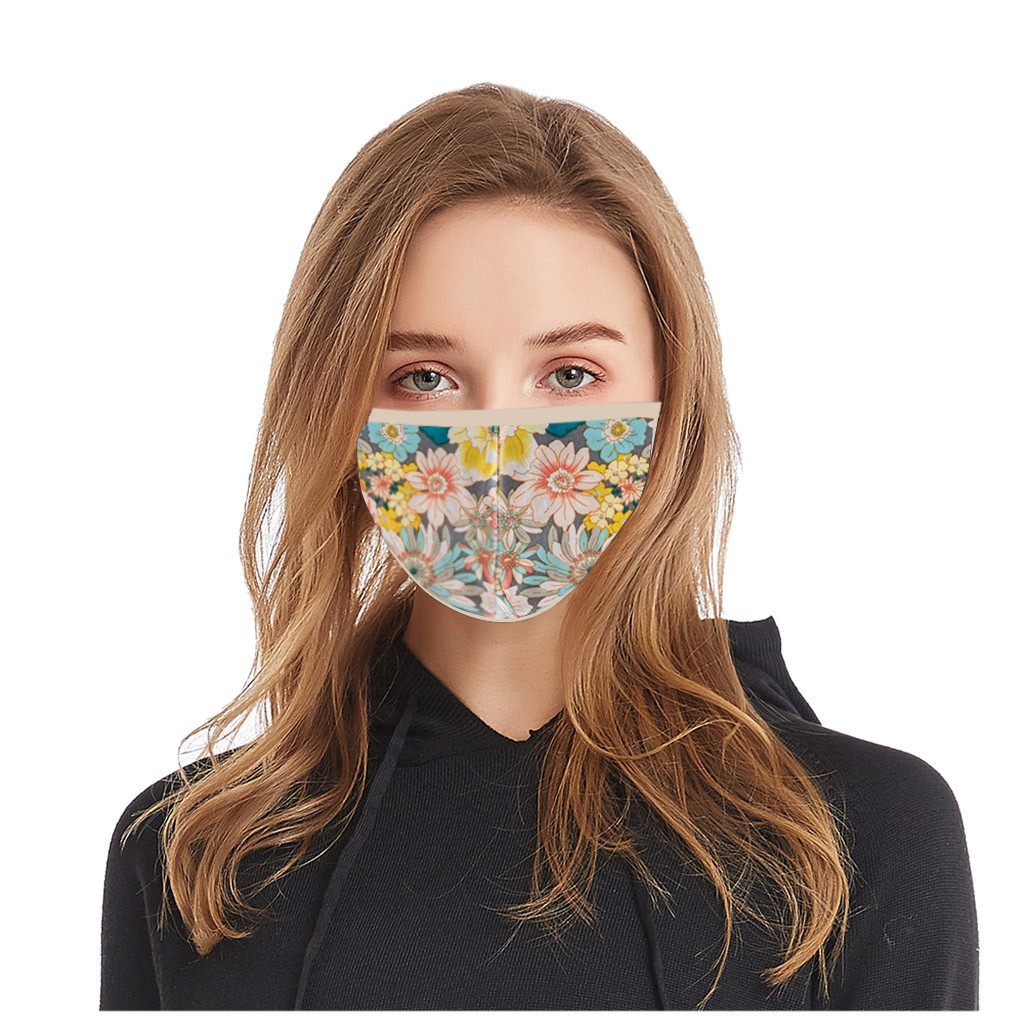 1pc Print Face Cover Women Men Adult Floral Print Adjustable Safet Washable Cotton Protection Breathable Windproof Mascarillas