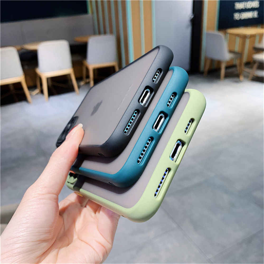 Perlindungan Kamera Tahan Guncangan Bumper untuk iPhone 11 Pro XS Max XR X 8 7 6 6S PLUS lensa Matte Permen Warna Penutup Belakang