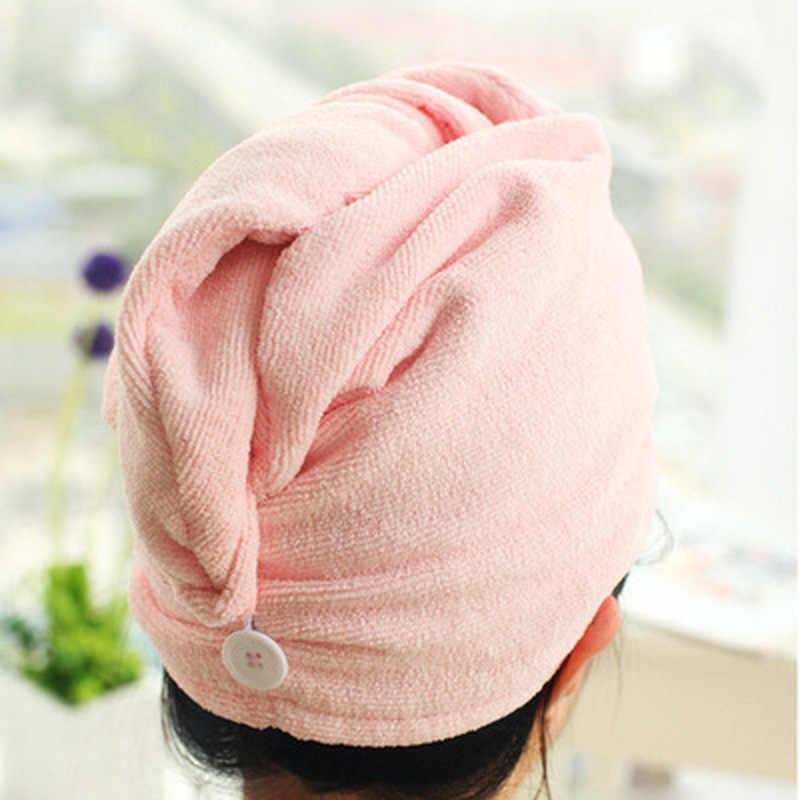 Wanita Rambut Pengeringan Handuk Topi Karang Beludru Make Up Kosmetik Cap Gadis Cepat Kering Bath Kepala Warna Secara Acak Topi