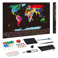 Large Size Scratch Off World Travel Map Wall Sticker Poster Vibrant Colors Detailed Journal Planner Gift Package for Travelers