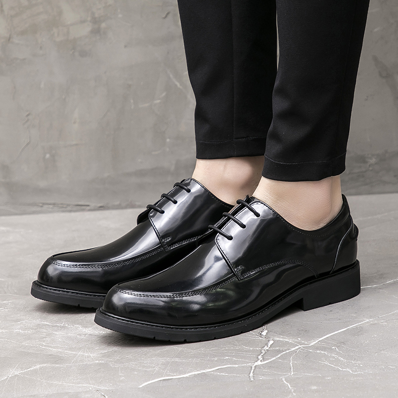 Classic Round Toe Derby Man Business Shoes Patent Leather Male Formal Dress Office Oxfords Men's Handmade Daily Flats JS373