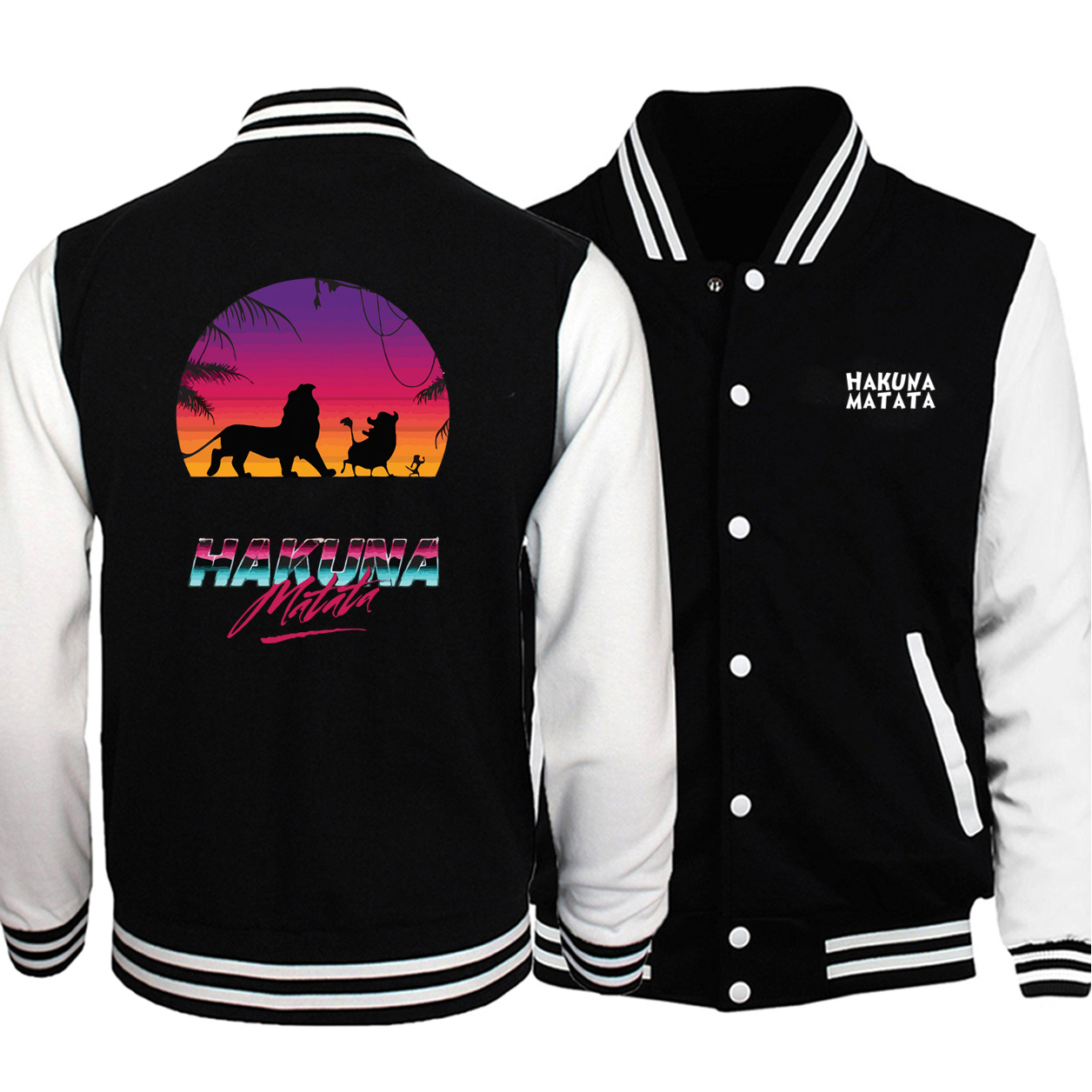 Lion King Hakuna Matata Men Baseball Jacket Men Autumn Casual Casual Plus Size Sportswear Hip Hop Streetwear Bomber Jacket
