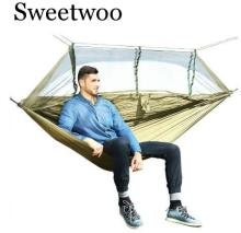 купить 1-2 Person Outdoor Mosquito Net Parachute Hammock Camping Hanging Sleeping Bed Swing Portable  Double  Chair Hamac Army Green в интернет-магазине