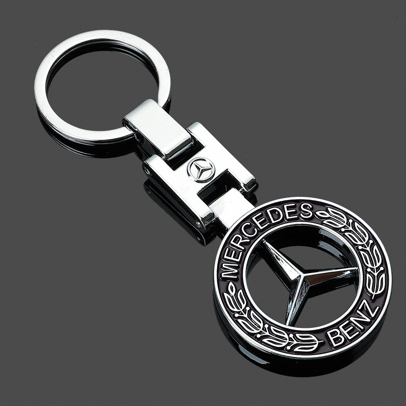 H Buckle Hollow Mercedes-Benz Wheat Ear Car Car Standard Metal Keychain Advertising Key Ring Link Pendant