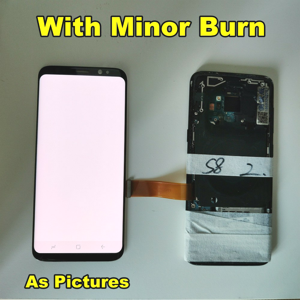 Tested LCD For Samsung <font><b>Galaxy</b></font> <font><b>S8</b></font> <font><b>S8</b></font> plus G950 G950F G955fd G955F G955 Burn-Shadow Lcd <font><b>Display</b></font> +Touch Screen Digitizer With Frame image