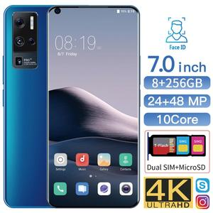 Unlocked Phone Global Version Android 8 + 256 GB Smartphone Mobile 7.0 Inch Mobilephone Face ID Dual Card Cellphone 3G 4G