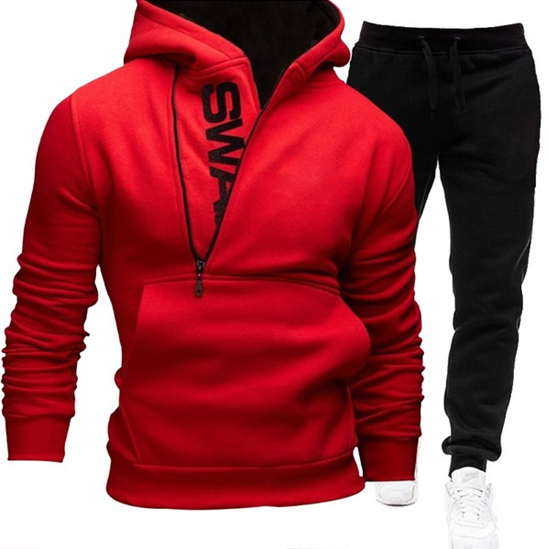 Sets Trainingsanzug Männer Herbst Winter Mit Kapuze Oberbekleidung Hoodie Set 2 Stück Zipper Sweatshirt Outfit Sportswear Männlichen Anzug Pullover