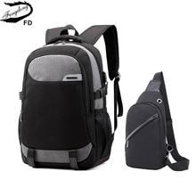 Fengdong big school bags for teenagers boys waterproof large school backpack usb charge boy sling chest bag set reflective strip