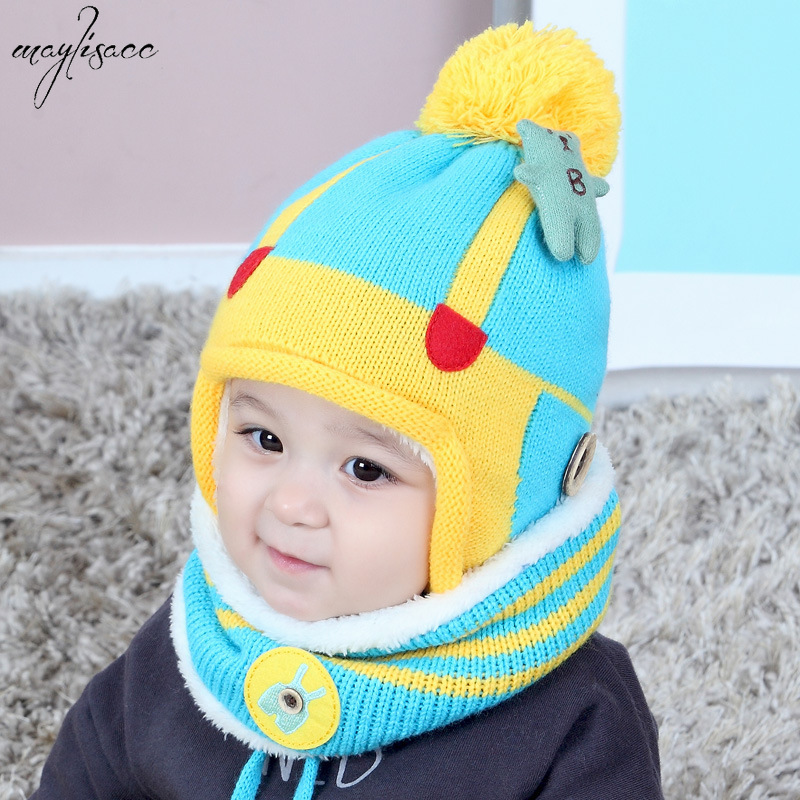 Maylisacc 2019 Autumn Winter Warm Children's Baby Boys Girls Hat And Scarf Set Velvet Straps Warm Kids Hat And Scarf 2 Pcs Set