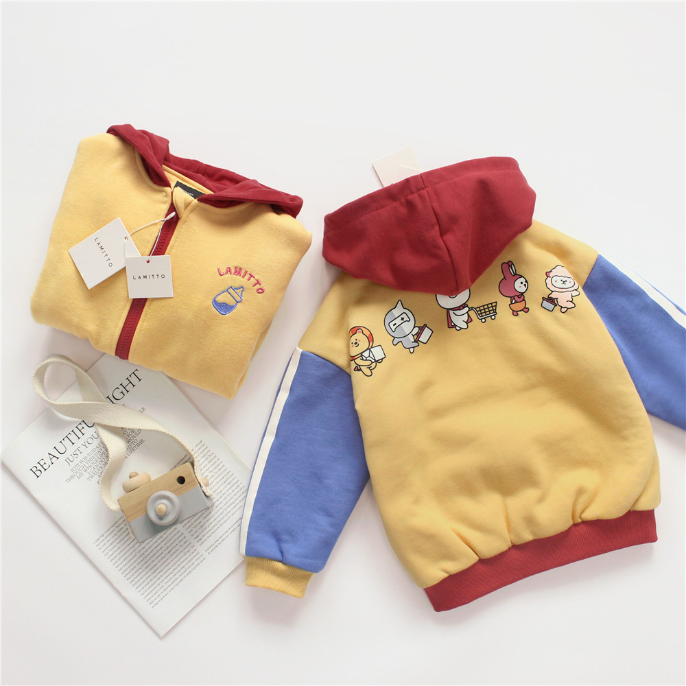 Tonytaobaby New Winter Clothes for Boys and Girls Thick Sweaters Sports Cardigans Velvet Coat