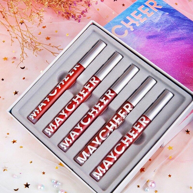 2020 5 pcs set batom fosco veludo sexy gloss labial cosmeticos matiz labial gloss batom a