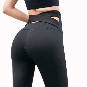 цена на NORMOV Fashion High Waist Solid Leggings Women Skinny Cross Belt Push Up Elastic Fitness Leggings Female Casual Workout Leggings