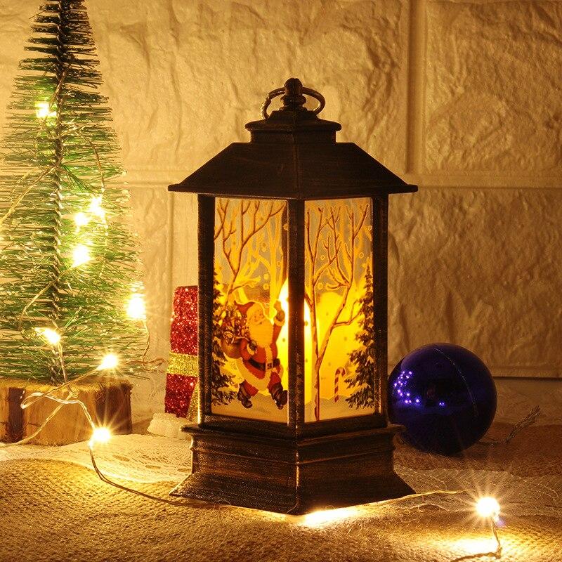 Рождественский светильник s лампа настольная наружного освещения Светодиодный окрашенный светильник подсвечник светильник s винтажный ночной Светильник Санта Снеговик Олень торшер Иисус - Испускаемый цвет: black-Santa Claus