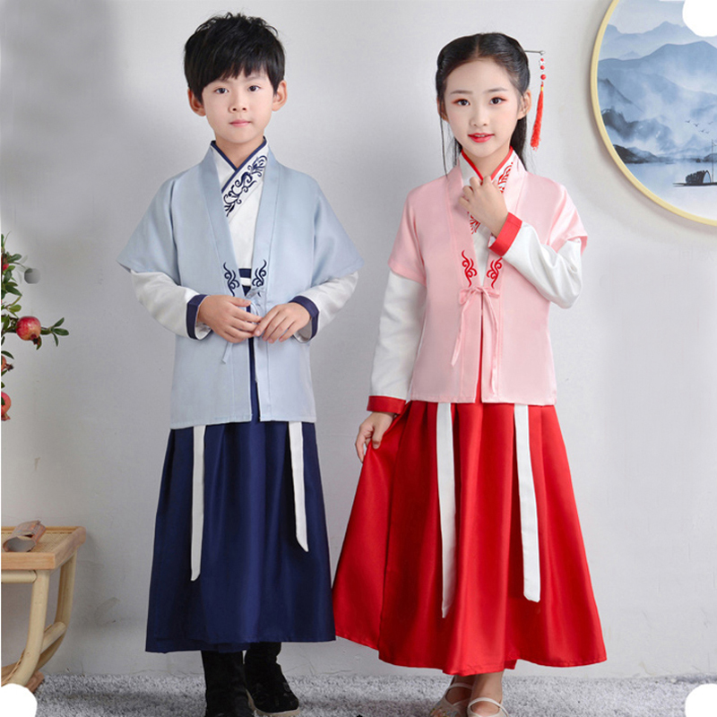 Boy And Girl Stage Dance Dress Chinese Traditional Costumes New Year Children Tang Suit Performance Hanfu Kids Cheongsam