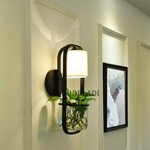 Lámparas de pared de hierro modernas de cristal americano para jardín, dormitorio, sala de estar, comedor, cabecera, E14, candelabro hidropónico de plantas suculentas