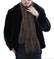 Real Mink Fur Scarf For Men Winter Warm Neckerchief Hand Woven Fishtail Black Brown 180*20cm