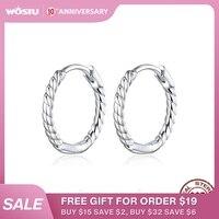 WOSTU véritable 925 en argent Sterling cercle boucles d'oreilles tissage géométrie OL Style grandes boucles d'oreilles pour les femmes bijoux uniques CQE841
