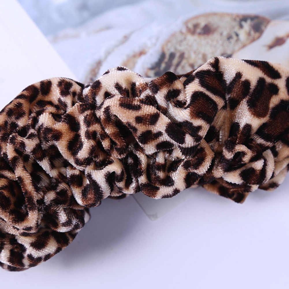 Große Tier Leopard Haar Scrunchie Set Für frauen Satin Samt Elastische Haar Seil Pferdeschwanz Halter Winter Haarband Haar Zubehör