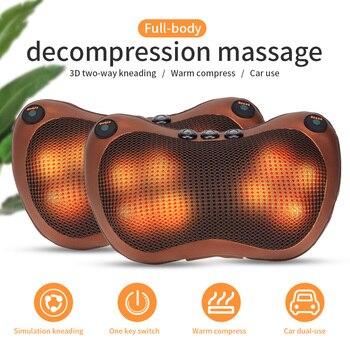 Head Neck Massager Car Home Cervical Shiatsu Massage Neck Back Waist Body Electric Multifunctional Massage Pillow Cushion