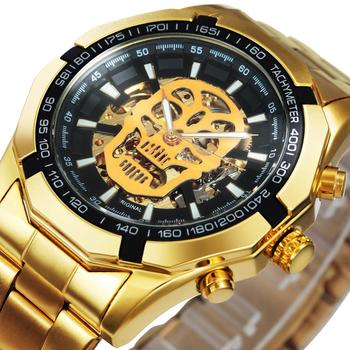 WINNER Official Automatic GOLD Watch Men Steel Strap Skeleton Mechanical Skull Watches Top Brand Luxury Dropshipping Wholesale - discount item  69% OFF Men's Watches
