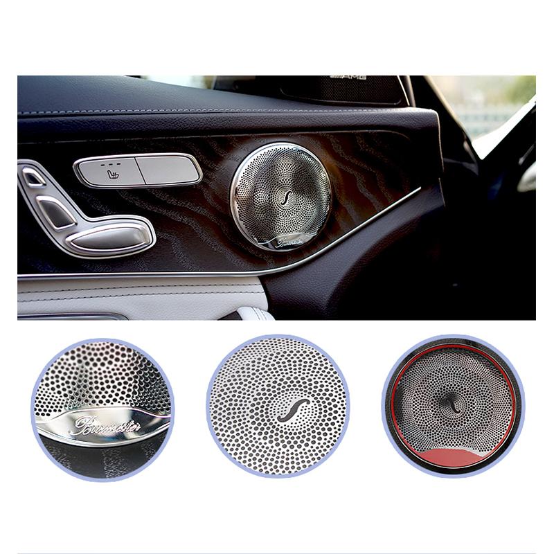 4 Pieces Stainless Steel Audio Speaker Trim Door Loudspeaker Cover Trim for E//C//GLC Class W213 W205 Matte Audio Speaker Cover Trim