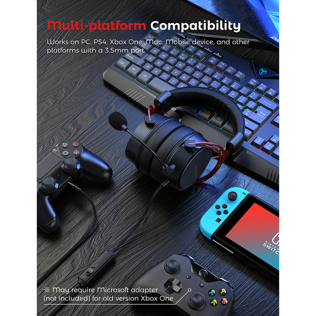 Air SE Gaming Headset Wired Surround Sound Gaming Headphones with Noise Cancelling Mic In-Line Control for PC 2