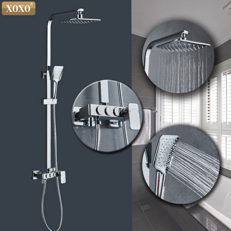 XOXO Cold And Hot High Quality Chrome Bath Shower Mixer Faucet Rotate Tub Spout Bathroom Wall Mount Rainfall Shower  9910