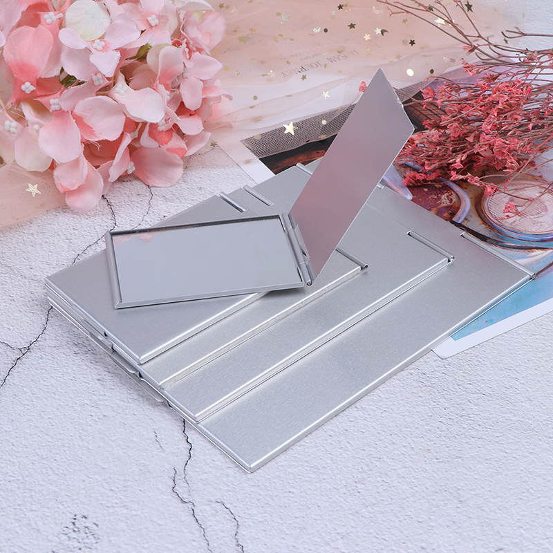 5 Sizes Pocket Rectangle Makeup Folding Mirrors Ultra-thin Folding Make Up Mirror Personalised Portable Compact Cosmetic Mirror