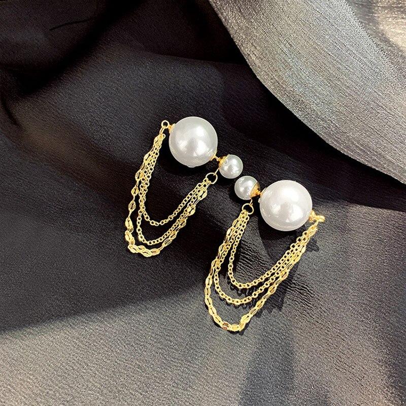 USTAR Vintage Pearl Double Side Stud Earrings For women Gold silver color chain Tassel female Earring bijoux Jewelry(China)