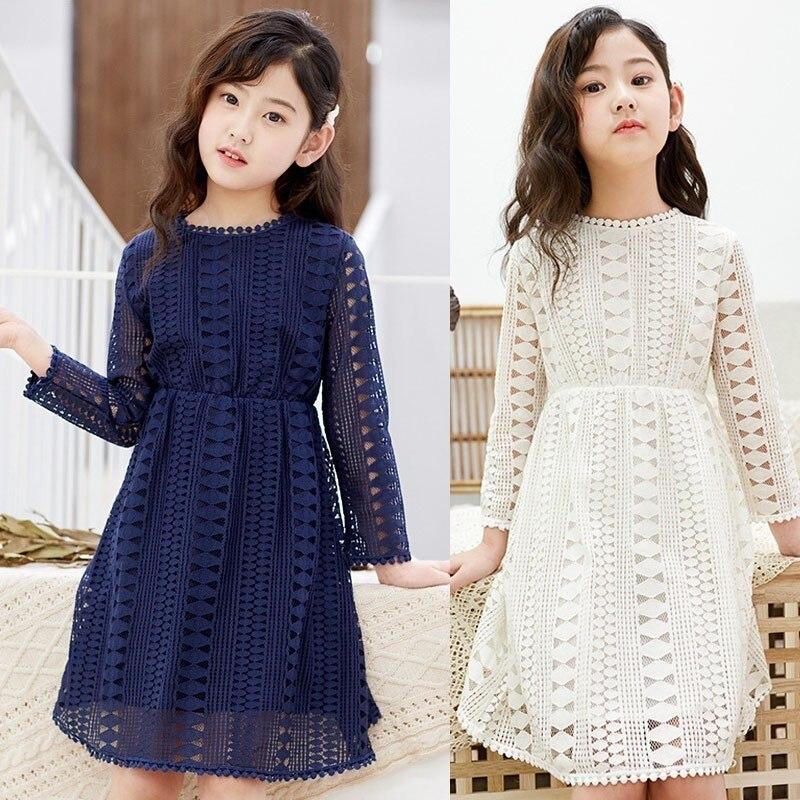 Kids Dresses Teenage White Blue Wedding Party Dress Lace Girl Dress Long Sleeve Children Clothing Spring Autumn 6 8 10 12 14 16