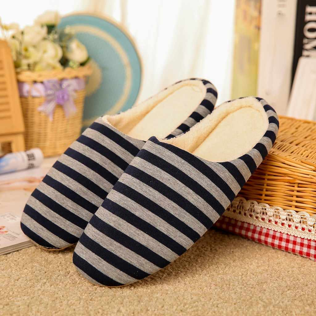 Men Women Cotton Slippers Shoes Home Indoor Slippers Striped Soft Plush Male House Bedroom Slippers Warm Winter chaussures femme