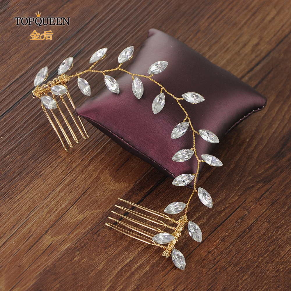 TOPQUEEN Vintage Wedding Hair Comb Accessories Bridal Hair Clips Rhinestone Hair Clips Golden Double Beaded Hair Comb HP09-G