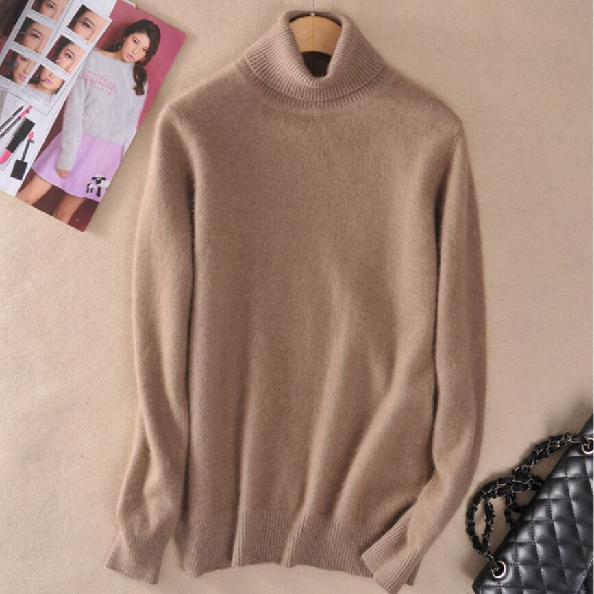 Super Warm Mink Cashmere Soft Fur Fleece Turtleneck Sweaters Female Pullovers For Autumn Winter Jumper Fashion Brand Jumper F555