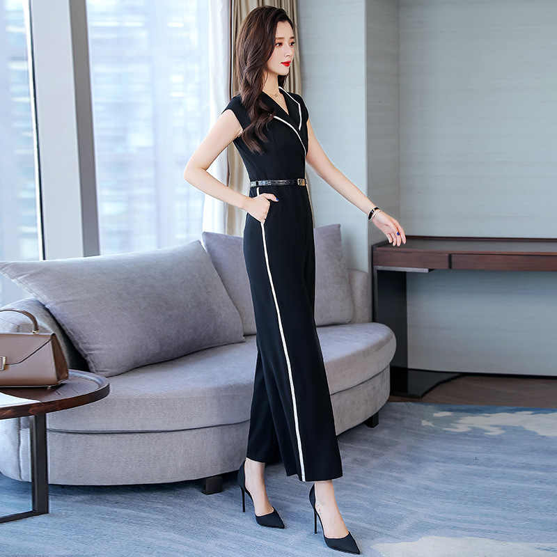 Summer 2020 Stylish Jumpsuit Women Wide Leg Trousers Elegant Slim Overalls Party Sleeveless Playsuit Red Black White Jumpsuits
