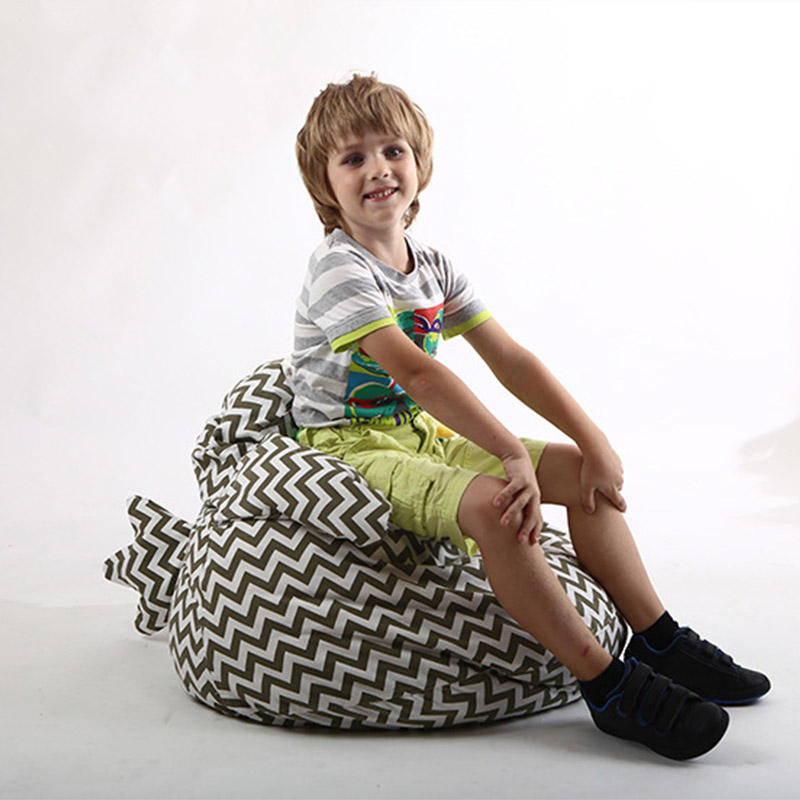 Kids Storage Bean Bag Chick Shape Stuffed Animal Toy Soft Pouch Chair
