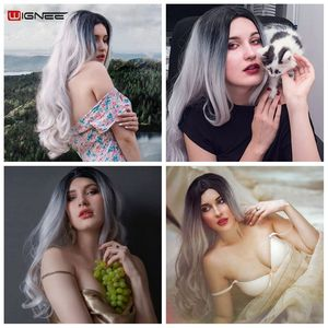 Image 5 - Парик Wignee из длинных волнистых волос, термостойкий синтетический, с эффектом омбре, для женщин, для повседневного использования, вечеринки, косплея, из натурального волокна