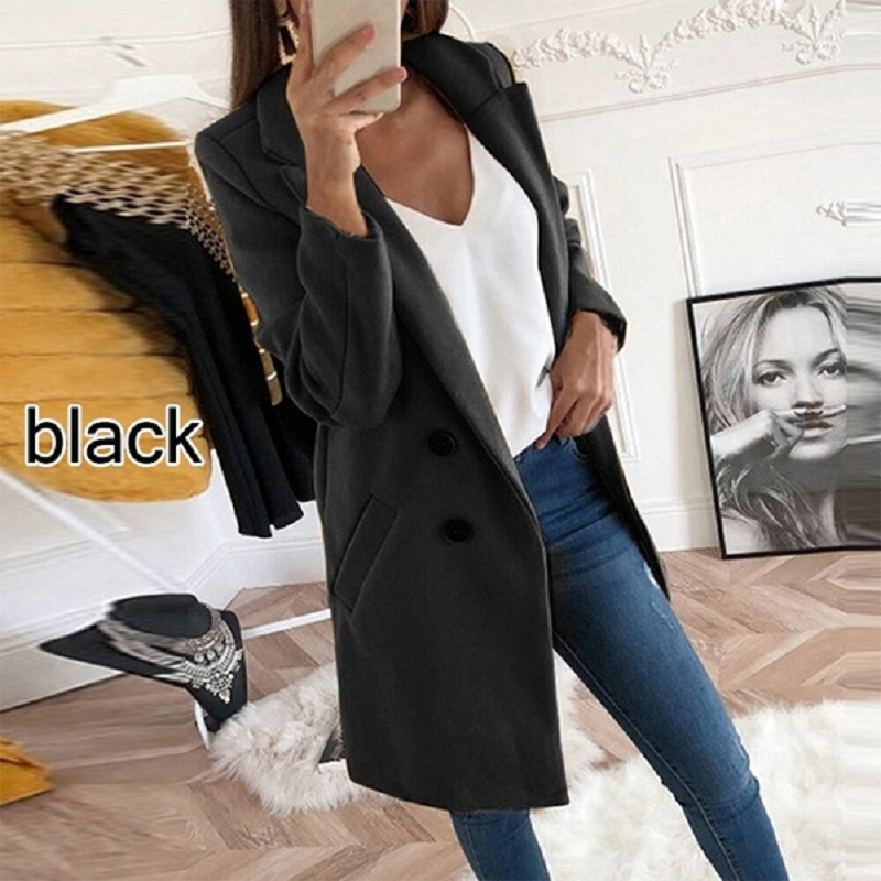 Women Clothes Plus Size Coat Wool Blends Overcoat Autumn Winter Fashion Double Breasted Long Sleeve Casual Oversized Jacket Coat