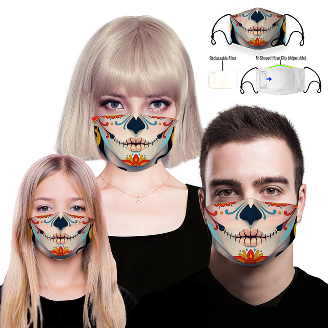 Fashion Reusable Protective PM2.5 Filter Printing mouth Mask anti dust Face mask with 7 Filters Windproof proof Flu Mask 3