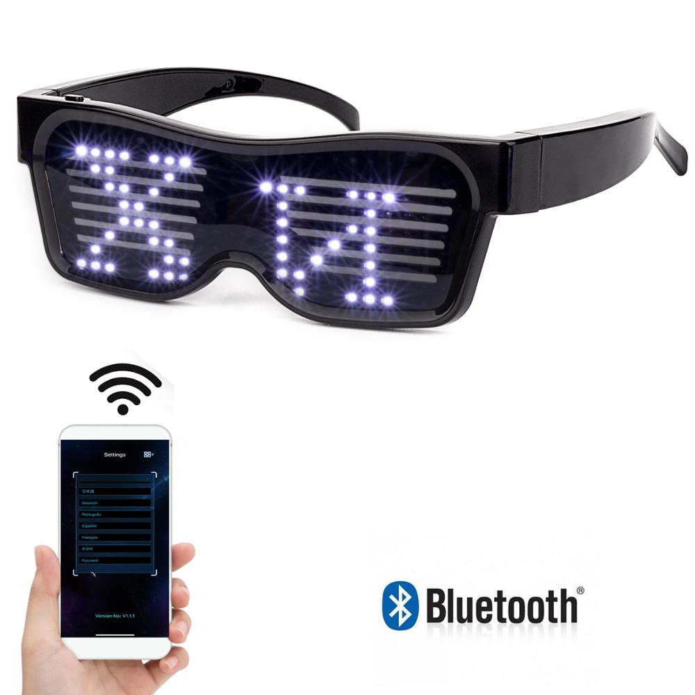 LED Glasses For Flashing Bluetooth APP Control - Display Messages, Animation,  DJ Holiday Party Birthday Children's Toy Gift