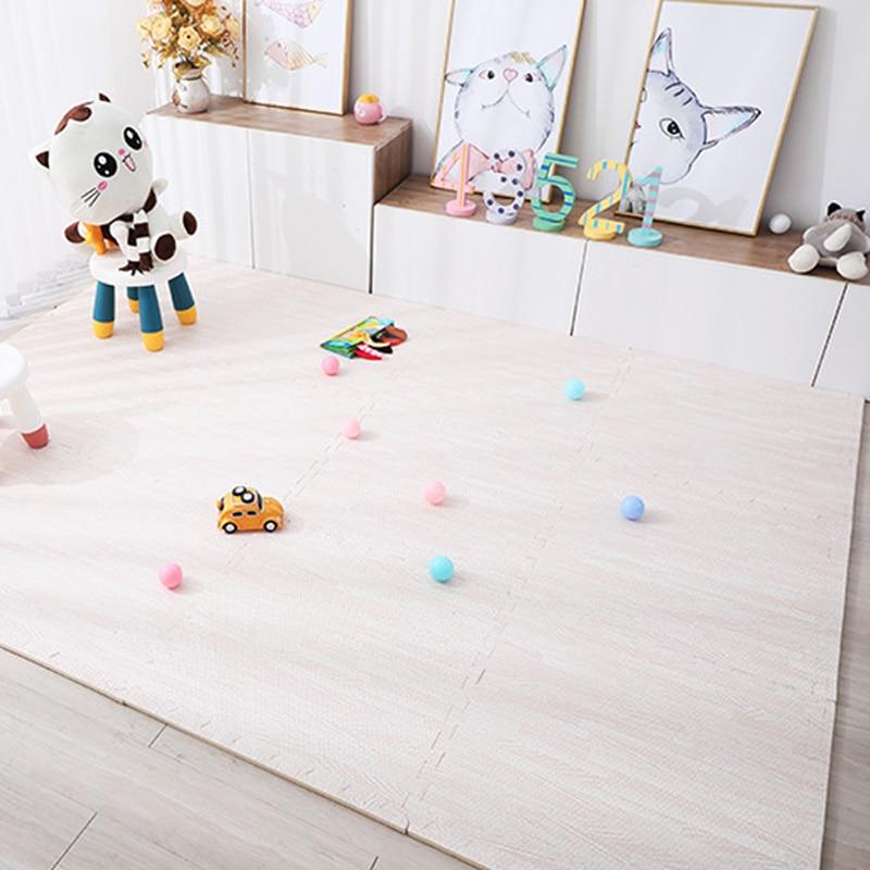 Wood Grain Puzzle Mat Baby Foam Play Splicing Bedroom Thicken Soft Modern Floor Kids Rug Living Room Crawling Carpet 9