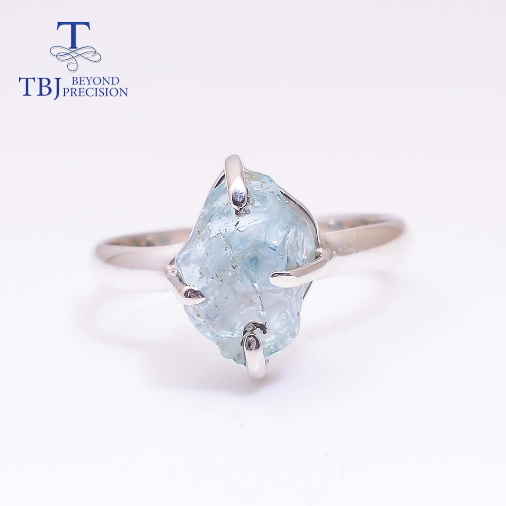 Gemstone-Ring Aquamarine 925-Sterling-Silver Natural NEW Rough 4ct for Girl Unique-Piece