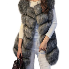 2020 Long Artifical Fox Fur Vest Women Winter Fashion Faux Fox Fur Vests Woman Warm Fake Fox Fur Coats Female faux fur fox applique sweatshirt